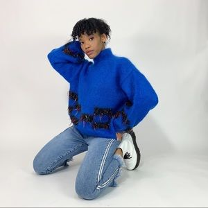 90's Vintage Neon Fringe Mohair Mock Neck Sweater